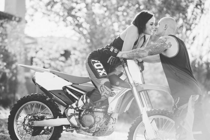 Motorcycle engagement photo Sacramento